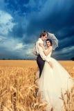 Novia y novio en campo de trigo con el cielo azul hermoso Imágenes de archivo libres de regalías