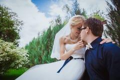 Novia y novio en casarse árboles cercanos ceramony en novia y novio sonrientes del parque Pares hermosos en novia y gro de abarca Imágenes de archivo libres de regalías