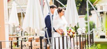 Novia y novio en el día de boda que caminan al aire libre Abarcamiento feliz de los recienes casados Pares cariñosos Fotografía de archivo