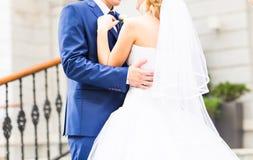 Novia y novio en el día de boda que caminan al aire libre Abarcamiento feliz de los recienes casados Pares cariñosos Fotografía de archivo libre de regalías