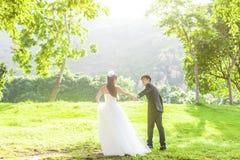 Novia y novio en el parque Fotografía de archivo libre de regalías