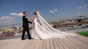 Novia y novio en el tejado almacen de video