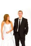 Novia y novio en estudio Fotografía de archivo libre de regalías