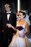 Novia y novio en la ceremonia de boda foto de archivo libre de regalías