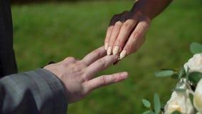 Novia y novio en la ceremonia de boda almacen de video