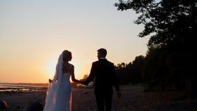 Novia y novio en la playa almacen de metraje de vídeo