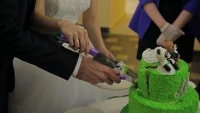 Novia y novio en la recepción nupcial que corta el pastel de bodas Corte un pastel de bodas Torta del día de fiesta del verde de  almacen de video