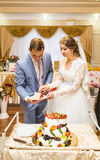 Novia y novio en la recepción nupcial que corta la torta Foto de archivo libre de regalías