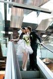 Novia y novio en metro Fotografía de archivo