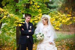 Novia y novio en otoño Foto de archivo libre de regalías