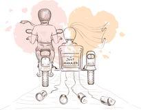 Novia y novio en una motocicleta Imagen de archivo