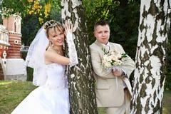 Novia y novio felices Imagen de archivo libre de regalías