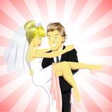 Novia y novio felices ilustración del vector