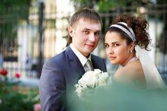 Novia y novio felices en la caminata de la boda en el parque Fotos de archivo libres de regalías