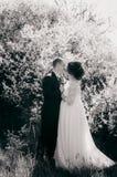 Novia y novio jovenes en un jardín enorme en la primavera Prepare y la novia en un vestido blanco fotografía de archivo