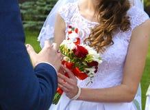 Novia y novio jovenes hermosos y felices en vestido de boda Imagen de archivo libre de regalías
