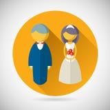 Novia y novio Marriage Icon del símbolo de la boda Foto de archivo