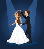 Novia y novio nuevamente casados de la pareja Imagen de archivo
