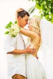 Novia y novio, pareja nuevamente casada romántica que abraza, apenas M Foto de archivo libre de regalías