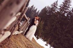 Novia y novio que abrazan cerca de bosque Imagen de archivo libre de regalías