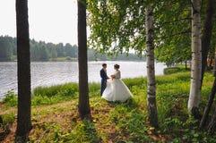 Novia y novio que caminan cerca del lago hermoso en bosque Pares de la boda en amor imagen de archivo libre de regalías