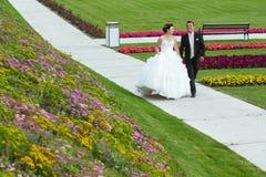 Novia y novio que caminan en camino Fotografía de archivo