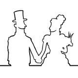 Novia y novio que miran el eachother Fotografía de archivo libre de regalías