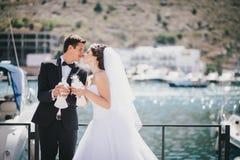 Novia y novio que presentan con las palomas blancas de la boda Imagen de archivo