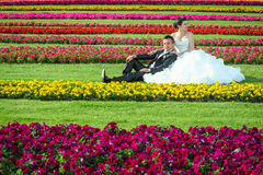 Novia y novio que se sientan en césped con las flores Fotografía de archivo