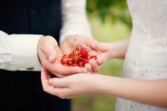 Novia y novio que sostienen bayas de la cereza foto de archivo