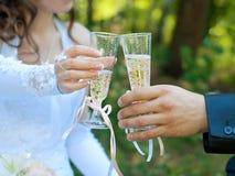 Novia y novio que sostienen los vidrios con champán Tan foto de archivo libre de regalías