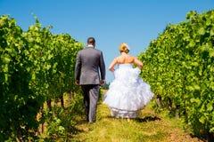 Novia y novio Walking Away Imagenes de archivo