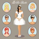 Novia y sistema de imágenes Peinados de la boda ilustración del vector