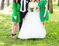Novia y sus damas de honor que llevan los vestidos verdes claros de la dama de honor Imagenes de archivo