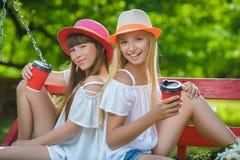 Novias alegres que se divierten en el oscilación al aire libre Concepto de la amistad Imágenes de archivo libres de regalías