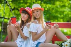 Novias alegres que se divierten en el oscilación al aire libre Concepto de la amistad Fotos de archivo libres de regalías
