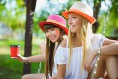 Novias alegres que se divierten en el oscilación al aire libre Concepto de la amistad Foto de archivo