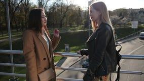 Novias atractivas que comunican en el puente almacen de metraje de vídeo