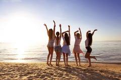 Novias felices que tienen lago de la puesta del sol de la diversión foto de archivo libre de regalías