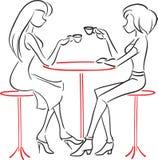 Novias que hablan en café libre illustration