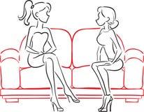 Novias que hablan sentarse en el sofá stock de ilustración