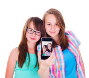 Novias que toman un selfie Imagenes de archivo