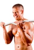 Novice bodybuilder training Royalty Free Stock Photos