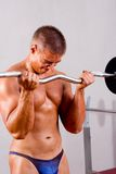 Novice bodybuilder training Stock Photo