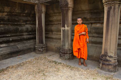A novice Buddhist monk of Angkor Wat, Siem Reap, Cambodia Royalty Free Stock Image