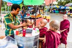 Novice Buddhist monk children Yangon Myanmar Stock Photos