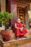 Novice at a buddhist temple in Kathmandu, Nepal. THAMEL, KATHMANDU, NEPAL - OCTOBER 18, 2015 : Novice at a buddhist temple in Kathmandu royalty free stock photos
