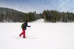 Novice Cross Country Skier Stock Photo