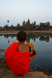 A novice monk of Angkor Wat, Siem Reap, Cambodia Royalty Free Stock Images