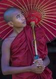 Novice monk in bagan Myanmar. BAGAN , MYANMAR - SEP 05 2017: Novice monk in bagan Myanmar on September 05 2017 , The ruins of Bagan has 2,200 temples and pagodas stock photography